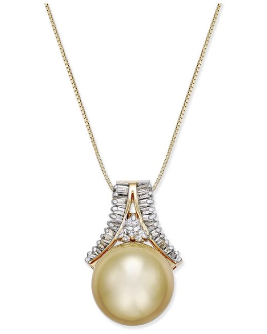 Macy's | Metallic Tahitian Pearl (12 Mm) And Diamond (1/5 Ct. T.w.) Arch Pendant Necklace In 14k White Gold | Lyst