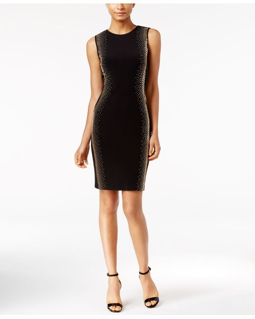 Calvin Klein | Black Studded Sheath Dress | Lyst
