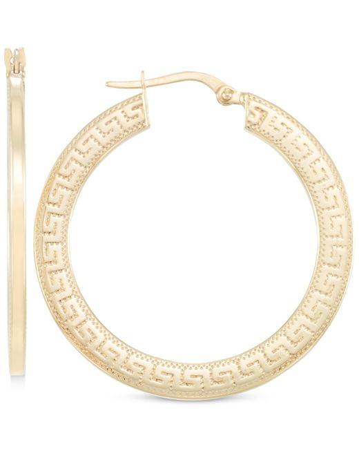 Macy's | Metallic Greek Key Hoop Earrings In 10k Gold | Lyst