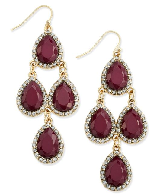 INC International Concepts | Purple Gold-tone Wine Stone And Pave Chandelier Earrings, Only At Macy's | Lyst