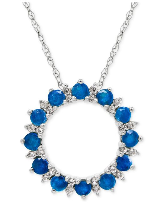 Macy's | Blue Topaz (1 Ct. T.w.) And White Topaz (1/5 Ct. T.w.) Circle Pendant Necklace In Sterling Silver | Lyst