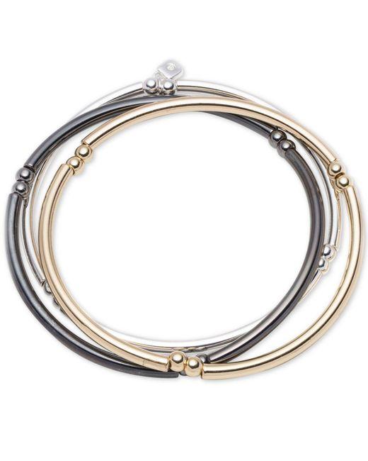 Nine West - Metallic Tri-tone Set Of 3 Stretch Bangle Bracelets - Lyst