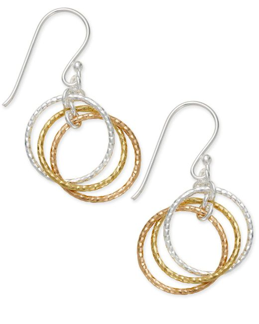 Giani Bernini - Metallic Tri-tone Interlocking Circle Drop Earrings In Sterling Silver, Gold-plated Sterling Silver And Rose Gold-plated Sterling Silver - Lyst