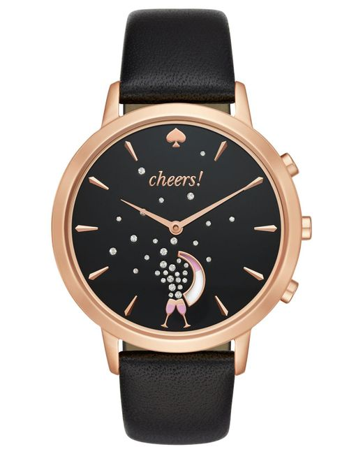 Kate Spade | Women's Hybrid Metro Grand Black Leather Strap Smart Watch 39mm Kst23100 | Lyst
