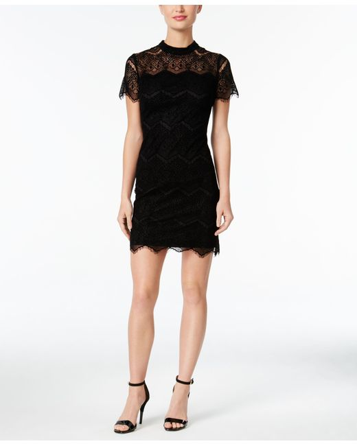 Calvin Klein Petite Burnout Lace Mock-neck Dress In Black | Lyst