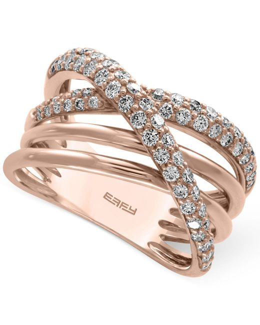 Effy Collection   Metallic Diamond Crisscross Ring (3/4 Ct. T.w.) In 14k Rose Gold   Lyst