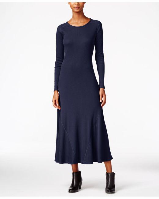 Macys Navy Blue Dresses: G.h. Bass & Co. Waffle-knit Maxi Dress In Blue
