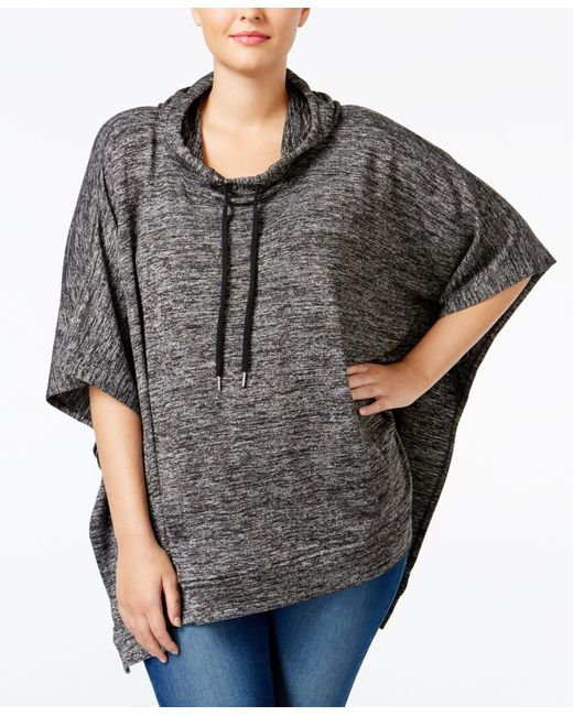 Style & Co. | Black Plus Size Melange-knit Poncho, Only At Macy's | Lyst