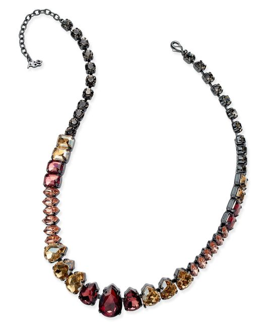 ABS By Allen Schwartz | Purple Hematite-tone Multi-crystal Collar Necklace | Lyst