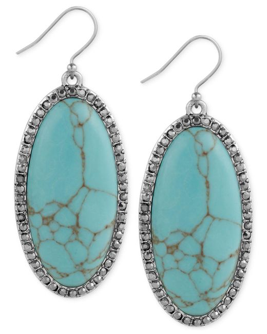 Lucky Brand | Blue Large Oval Stone And Pavé Drop Earrings | Lyst