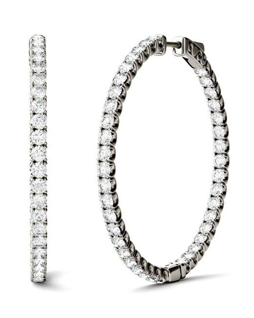 Charles & Colvard - Metallic Moissanite Hoop Earrings (5/8 Ct. T.w. Diamond Equivalent) In 14k Gold Or White Gold - Lyst