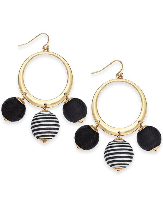 """INC International Concepts - Black I.n.c. Large 2.5"""" Gold-tone Wrapped Ball Drop Hoop Earrings, Created For Macy's - Lyst"""