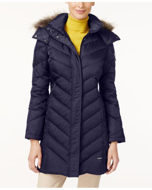Kenneth Cole - Blue Hooded Faux-fur-trim Down Chevron Puffer Coat - Lyst