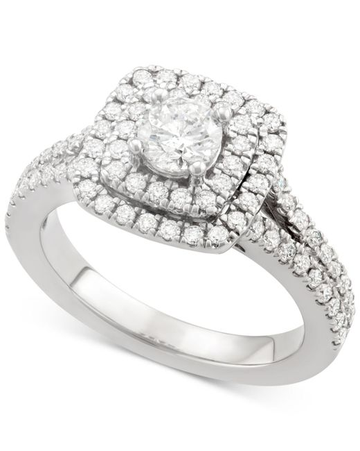 Marchesa - Metallic Certified Diamond Square Frame Ring (1-1/4 Ct. T.w.) In 18k White Gold - Lyst
