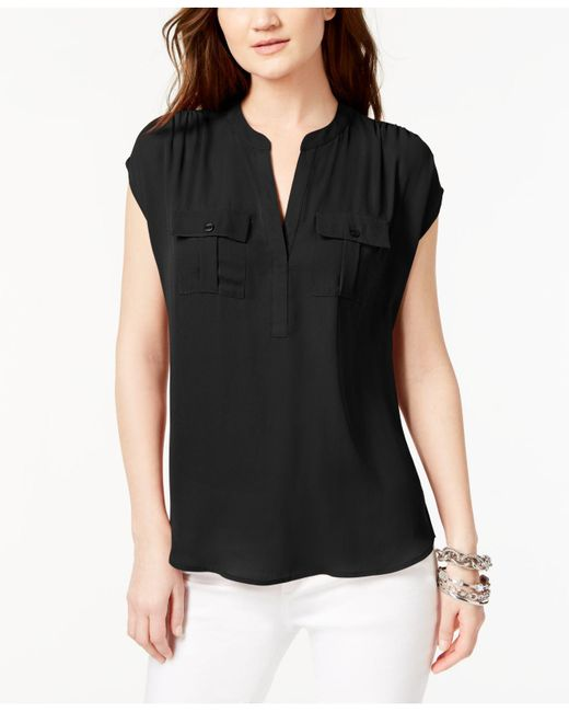 INC International Concepts - Black Dolman-sleeve Mixed-media Utility Shirt - Lyst