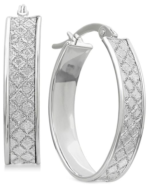 Macy's - Textured Glittery Hoop Earrings In 14k Yellow, White Or Rose Gold - Lyst