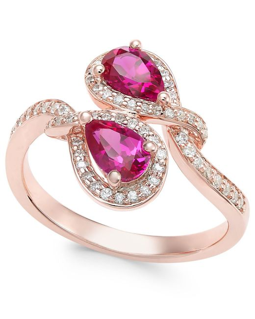 Macy's | Pink Certified Ruby (1 Ct. T.w.) And Diamond (1/4 Ct. T.w.) Teardrop Bypass Ring In 14k Rose Gold | Lyst