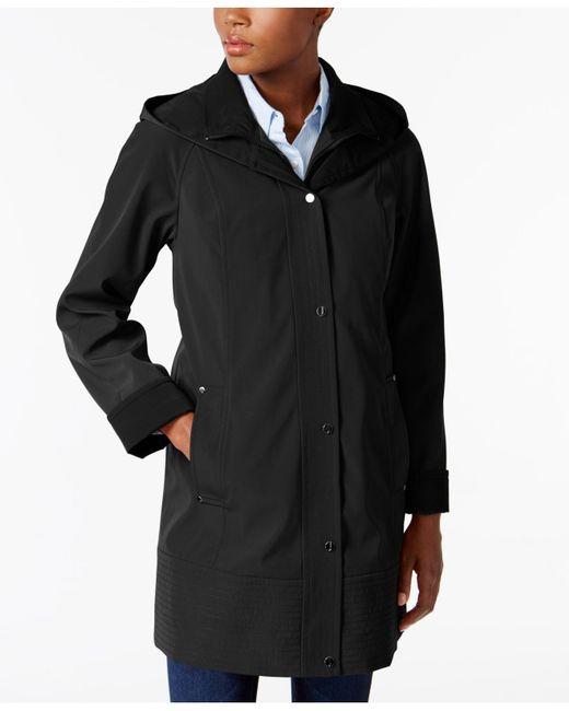 Jones New York | Black Two-toned Hooded Raincoat | Lyst