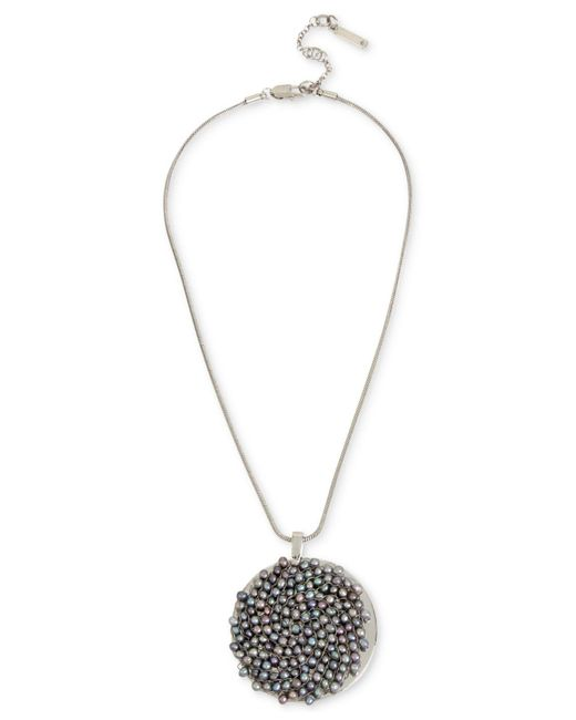 "Kenneth Cole - New York Silver-tone Gray Imitation Pearl Woven Pendant Necklace, 15"" + 3"" Extender - Lyst"