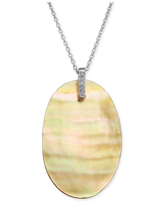 "Macy's - Metallic Golden South Sea Mother-of-pearl & Diamond Accent 18"" Pendant Necklace In Sterling Silver - Lyst"