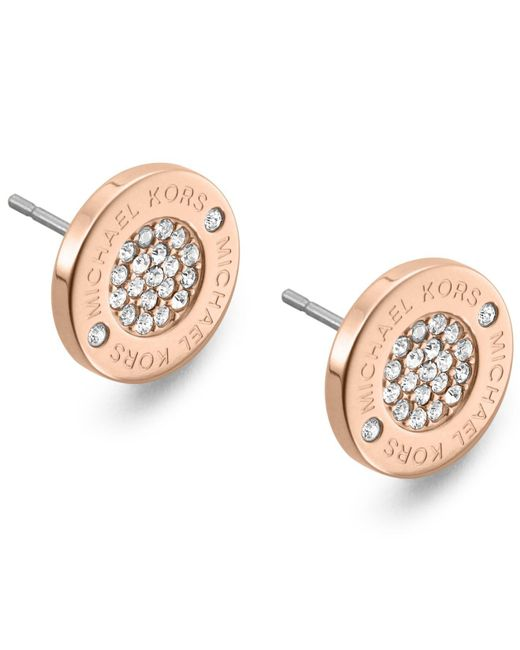Michael Kors - Metallic Crystal Pave Logo Stud Earrings - Lyst
