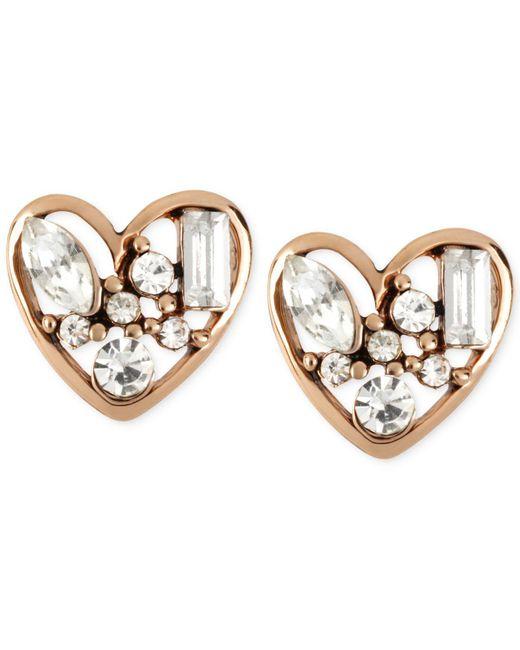 Betsey Johnson - Pink Rose Gold-tone Crystal Heart Stud Earrings - Lyst
