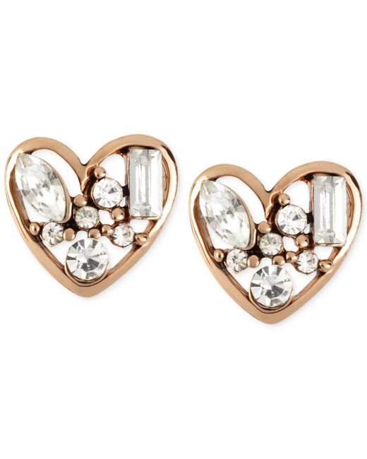 Betsey Johnson - Metallic Rose Gold-tone Crystal Heart Stud Earrings - Lyst