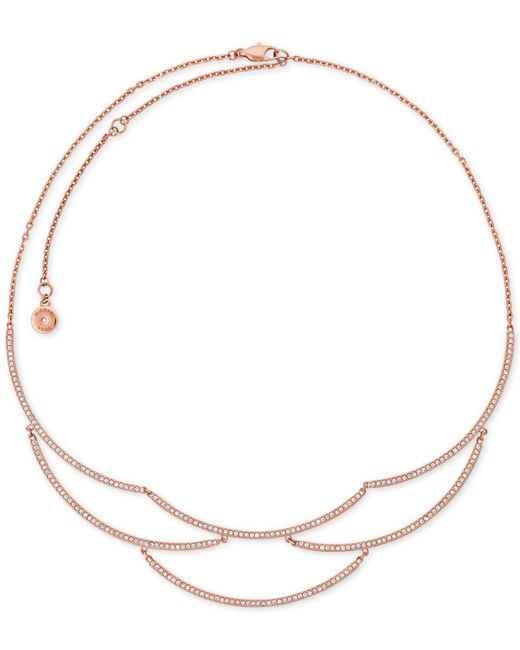 Michael Kors | Metallic Rose Gold-tone Cubic Zirconia Statement Necklace | Lyst