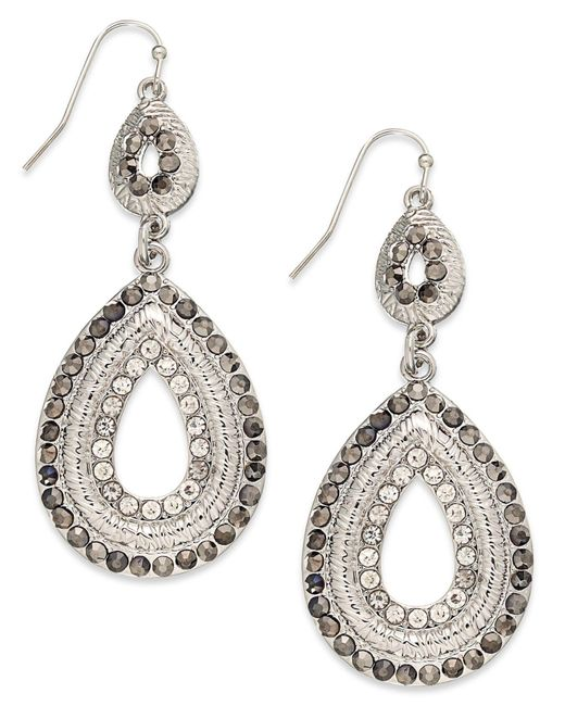 INC International Concepts - Metallic Silver-tone Pave Double Drop Earrings - Lyst