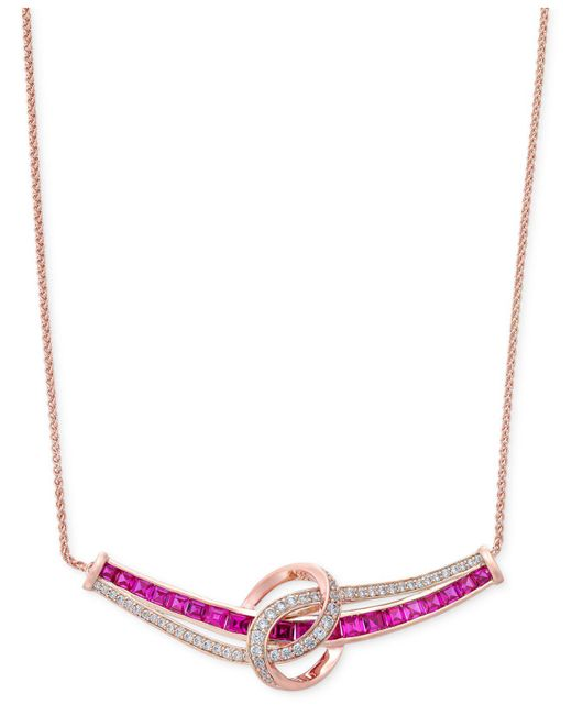 Macy's - Red Certified Ruby (1-3/4 Ct. T.w.) And Diamond (1/4 Ct. T.w.) Collar Necklace In 14k White Gold - Lyst