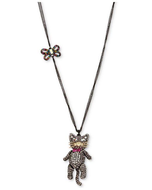 Betsey Johnson | Black Two-tone Multicolor Pavé Bow & Cat Pendant Necklace | Lyst