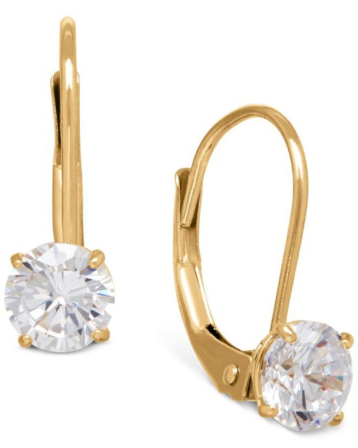 Macy's   Metallic Solitaire Cubic Zirconia Hoop Earrings In 14k Yellow, White, And Rose Gold   Lyst