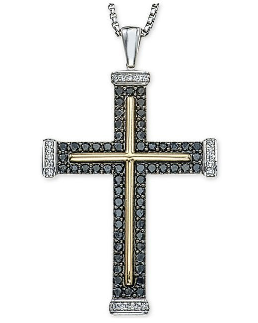 Macy's - Metallic Men's Diamond Two-tone Cross Pendant Necklace (1 Ct. T.w.) In Sterling Silver And 10k Gold for Men - Lyst