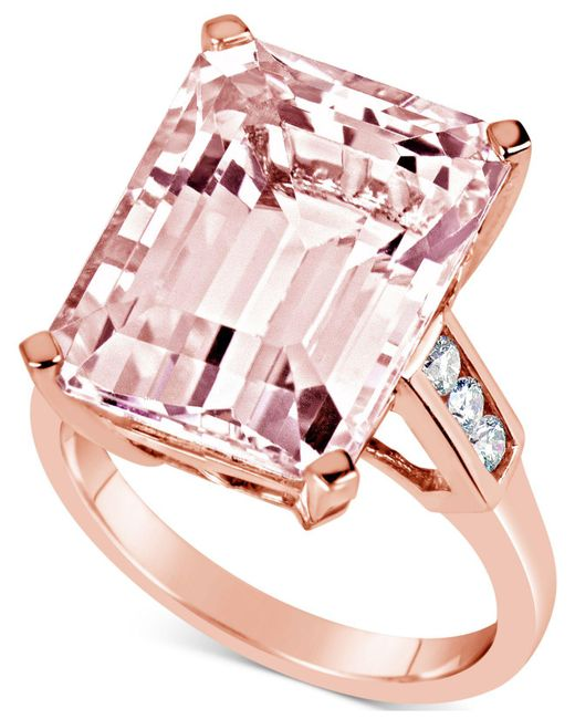 Macy's - Multicolor Morganite (13 Ct. T.w.) & Diamond (1/5 Ct. T.w.) Ring In 14k Rose Gold - Lyst