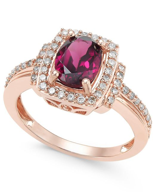 Macy's - Metallic Rhodolite Garnet (1-1/5 Ct. T.w.) And Diamond (1/3 Ct. T.w.) Ring In 14k Rose Gold - Lyst