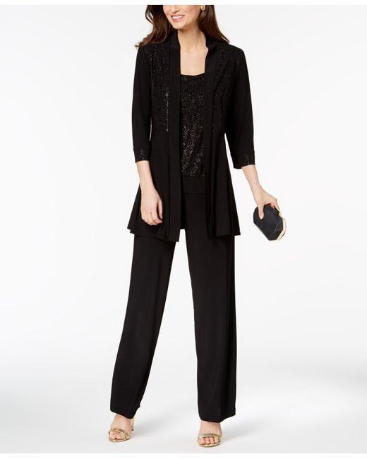 R & M Richards - Black Glitter-print Pantsuit - Lyst