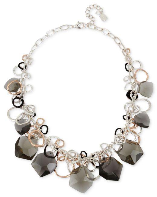 Robert Lee Morris | Metallic Tri-tone Multi-ring & Black Stone Statement Necklace | Lyst