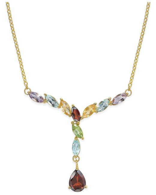 Macy's | Metallic Multi-gem Drop Y-necklace (3 Ct. T.w.) In 18k Gold-plated Sterling Silver | Lyst
