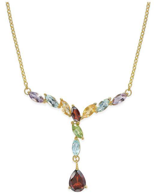 Macy's | Metallic Multi-gem Drop Y-necklace (3 Ct. T.w.) In 18k Gold-plated Sterling Silver | Lyst
