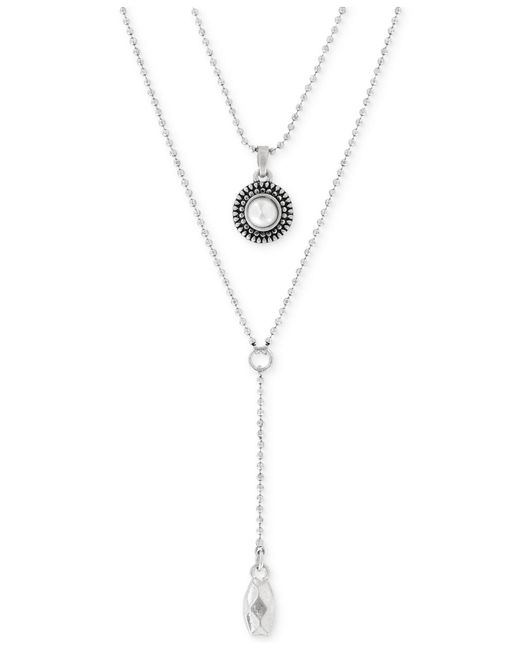Lucky Brand - Metallic Silver-tone Freshwater Pearl Two-row Y Long Necklace - Lyst