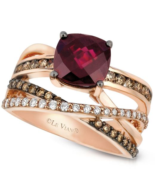 Le Vian - Red Raspberry Rhodolite Garnet (2-3/4 Ct. T.w.) And Chocolate And White Diamond (3/4 Ct. T.w.) Ring In 14k Rose Gold - Lyst
