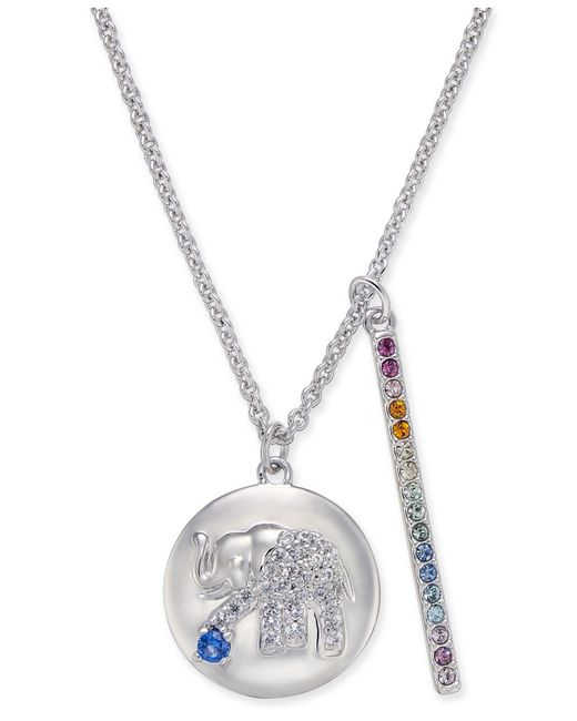 "Danori - Metallic Silver-tone Elephant Pavé Disc & Horizontal Bar Pendant Necklace, 16"" + 2"" Extender, Created For Macy's - Lyst"