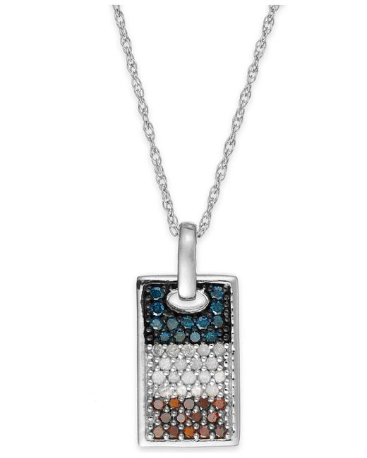 Macy's - Metallic Diamond Flag Dog Tag Pendant Necklace In Sterling Silver (1/2 Ct. T.w.) - Lyst