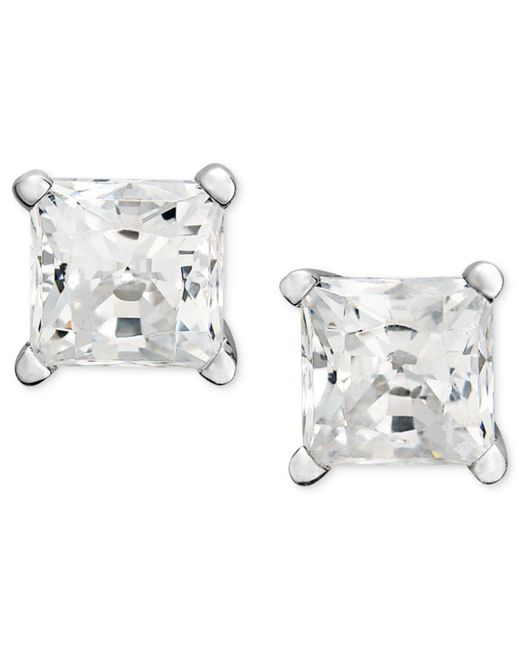 Macy's | Metallic Princess-cut Diamond Stud Earrings In 14k White Gold (1/2 Ct. T.w.) | Lyst