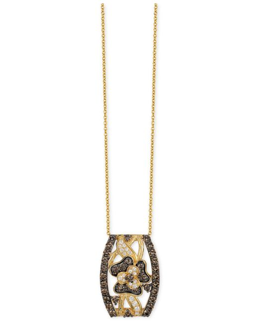 Le Vian - Metallic Chocolate And White Diamond Pendant Necklace (1-1/4 Ct. T.w.) In 14k Gold - Lyst