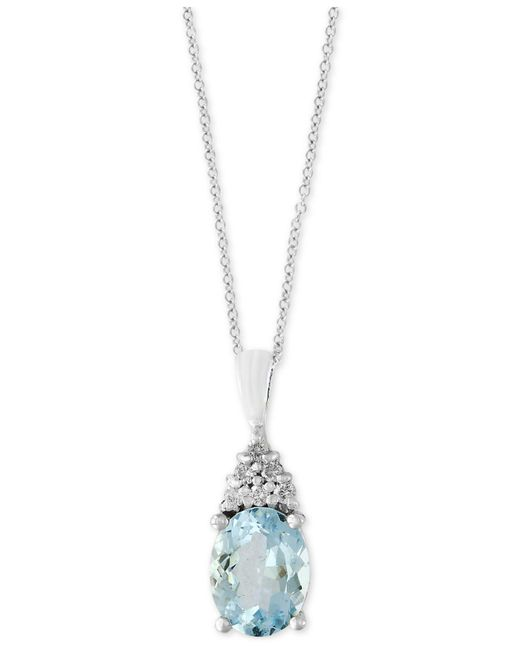 Effy Collection - Metallic Aquamarine (1-3/4 Ct. T.w.) And Diamond Accent Pendant Necklace In 14k White Gold - Lyst