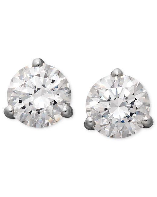 Arabella - 14k White Gold Earrings, Swarovski Zirconia Round Stud Earrings (4-1/4 Ct. T.w.) - Lyst