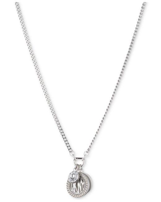 DKNY - Metallic Three Charm Logo Pendant Necklace - Lyst