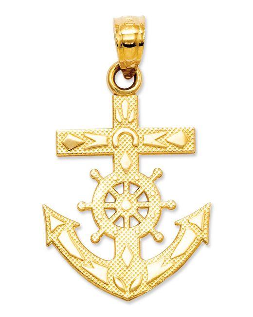 Macy's - Metallic 14k Gold Charm, Mariner's Cross Charm - Lyst
