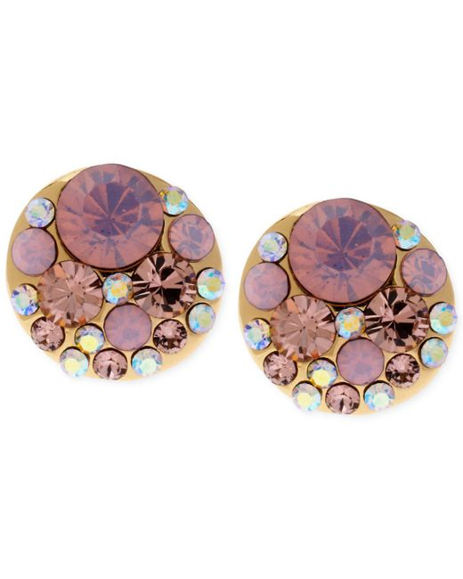 Betsey Johnson - Gold-tone Pink Faceted Bead Stud Earrings - Lyst